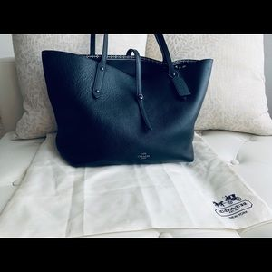 NEW Coach Black Leather Lager Tote Purse